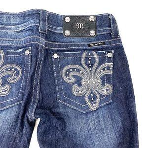 Miss Me Bling Boot Cut Fleur de Lis Jeans Size 26